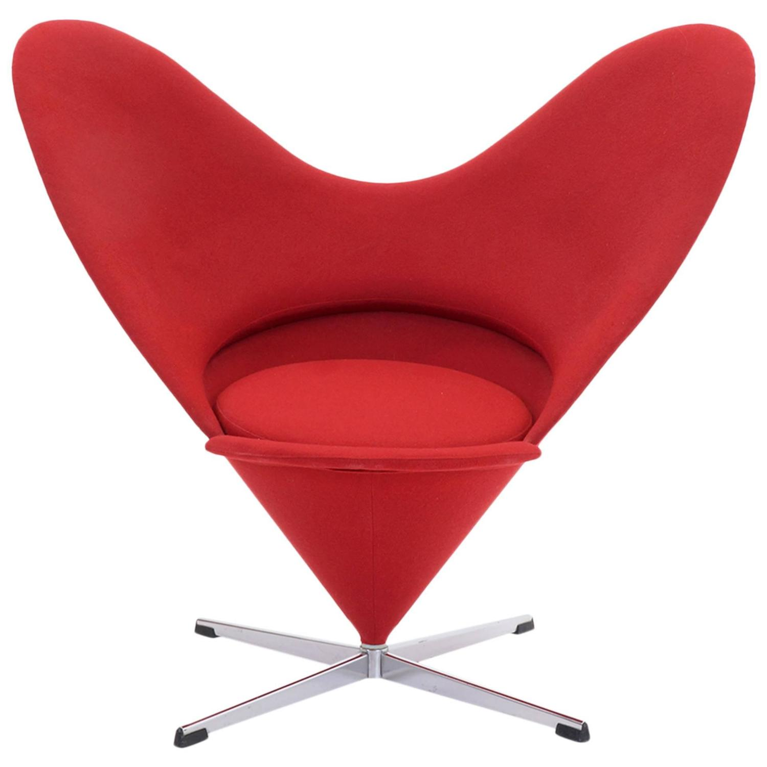original verner panton cone heart chair for plus linje for sale at 1stdibs. Black Bedroom Furniture Sets. Home Design Ideas