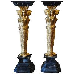 Pair of Vintage Gilt Bronze and Marble Pedestals