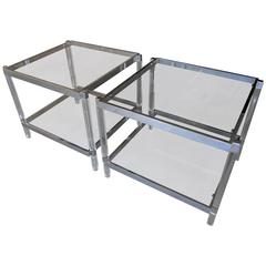 Pair of Chromed Steel & Lucite Metric Line Side Tables by Charles Hollis Jones
