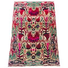"20th Century Vibrant & Luxurious Silk Ikat ""Sari"" Rug"