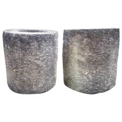 Pair of French Carved Stone Cylindrical Planters