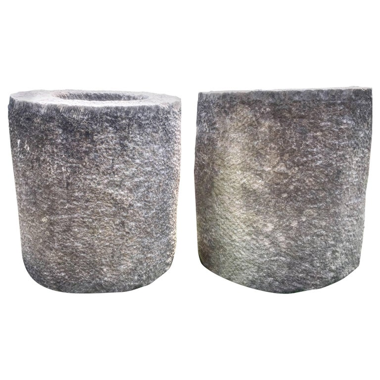 Pair of French Carved Stone Cylindrical Planters For Sale