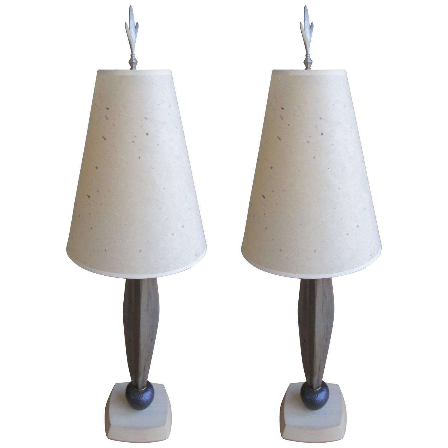 pair of danish mid century modern wood and hammered bronze table lamps