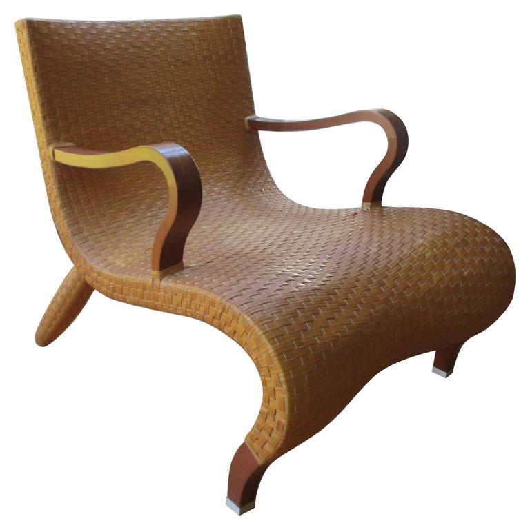 Rare Leather Woven Mid Century Modern Oversized Armchair