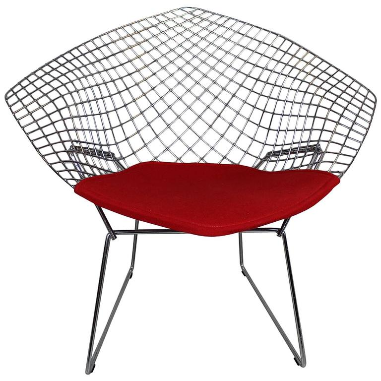 harry bertoia diamond chair with red wool pad for sale at 1stdibs. Black Bedroom Furniture Sets. Home Design Ideas
