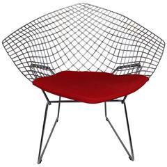 Harry Bertoia Diamond Chair with Red Wool Pad