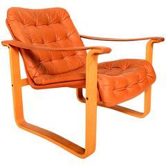Finland Leather Armchair, Danish Mid-Century Modern OY BJ. Dahlqvist AB, Finland