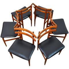 Set of Six Danish Modern Poul Hundevad Model 30 Teak Dining Chairs