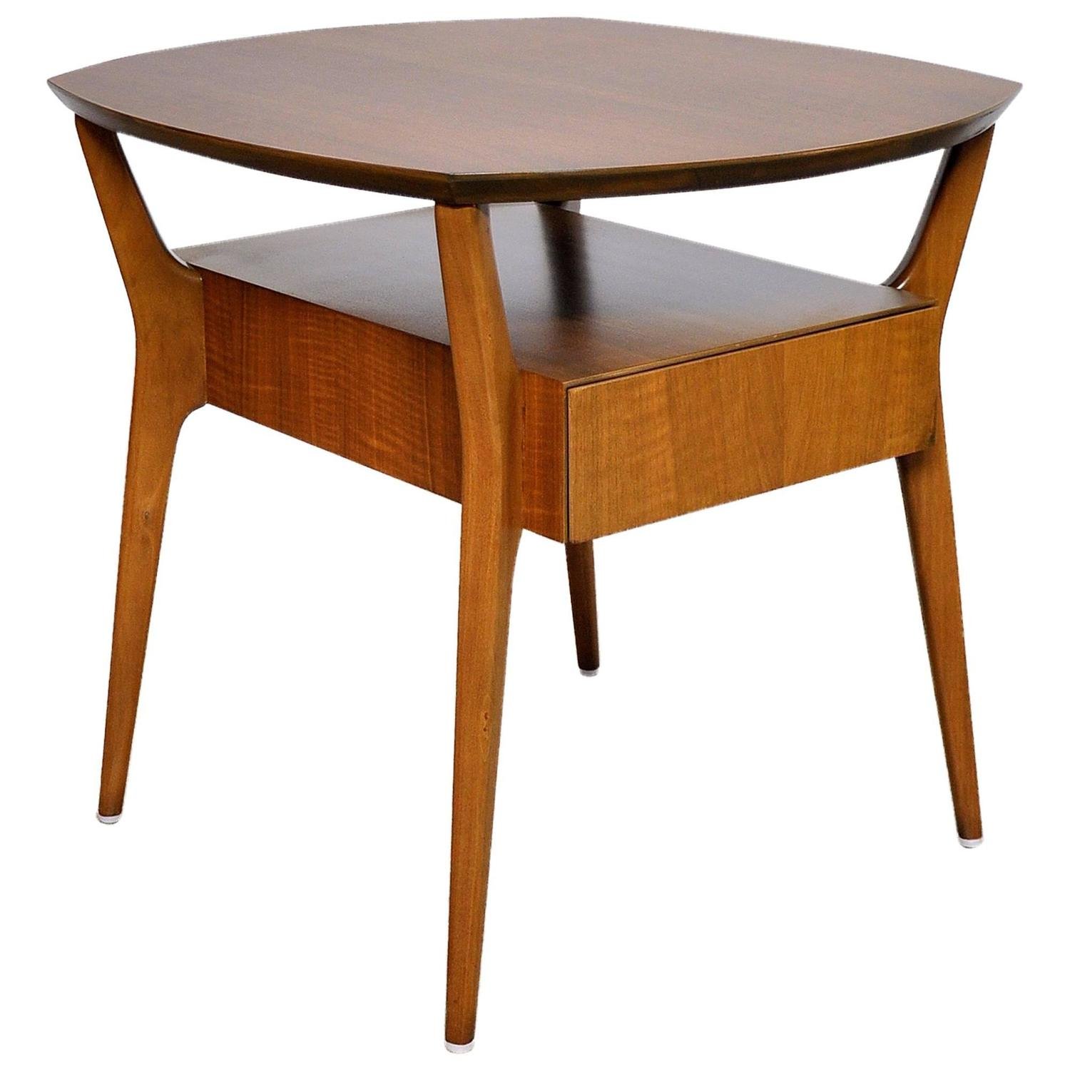 Gio Ponti for Singer and Sons Walnut Side Table at 1stdibs