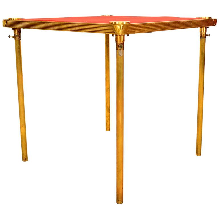 French Brass Game Table with Red Cloth, Art Deco