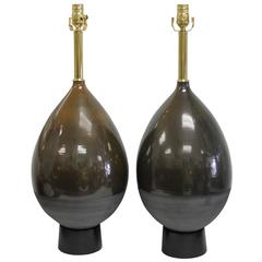 Pair of Ceramic Lamps Signed A-H KAG, Switzerland