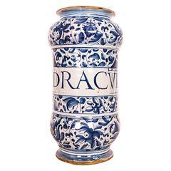 17th or 18th Century Italian Blue and White Maiolica Albarello 'Apothecary Jar'
