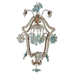 French Aqua Blue Maison Baguès Style Beaded Chandelier, circa 1920