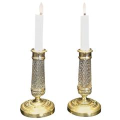 Pair of Candlesticks Crystal and Gilt Bronze, 19th Century