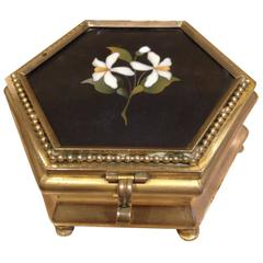 Gilt Bronze and Marquetry Marble Jewelry Box, 19th Century