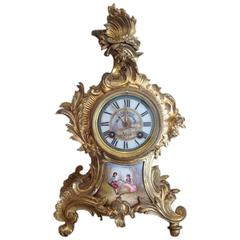 Pendulum Louis XV Style Gilt Bronze and Porcelain Plates