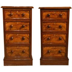 Fine Quality Pair of Burr Walnut Victorian Period Antique Bedside Chests