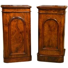 Near Pair of Burr Walnut Victorian Period Antique Bedside Cabinets