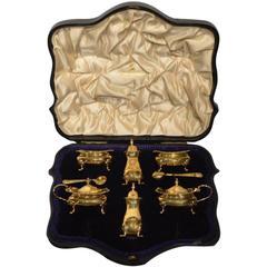 Silver Gilt Edwardian Period Six-Piece Condiment Set