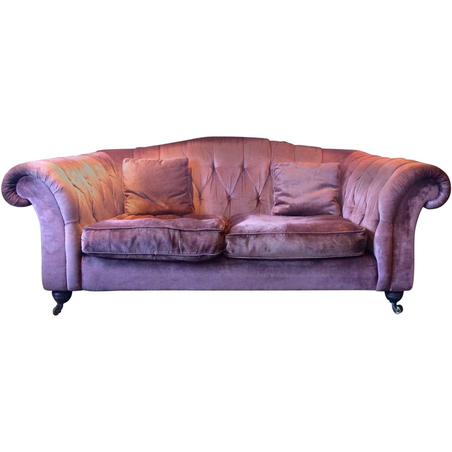 Liberty And Co Chesterfield Sofa Antique Style Button Back Velvet Casters  At 1stdibs