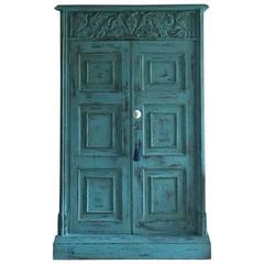 Antique Hall Bathroom Cupboard 19th Century Victorian Carved Two-Door