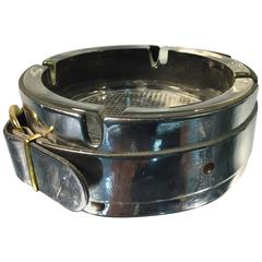Exceptional Hermes Style Chrome and Glass Ashtray with Belt Decoration