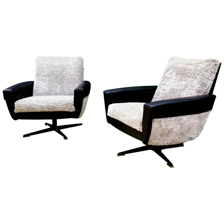 Rare Pair of French, 1960s Swivel Armchairs