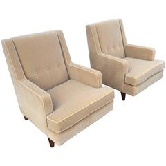 "Edward Wormley Pair of ""Tall Man"" Lounge Chairs for Dunbar"