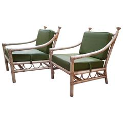 Rattan Lounge Chairs by Willow & Reed in the manner of Tommi Parzinger