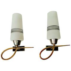 Pair of 1950s Sconces by Maison Lunel