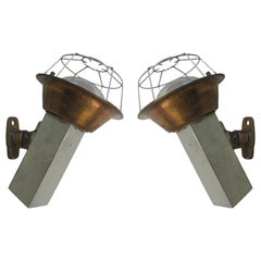 French Midcentury Articulating Industrial Sconces/ Flush Mounts, J. Prouve, Pair