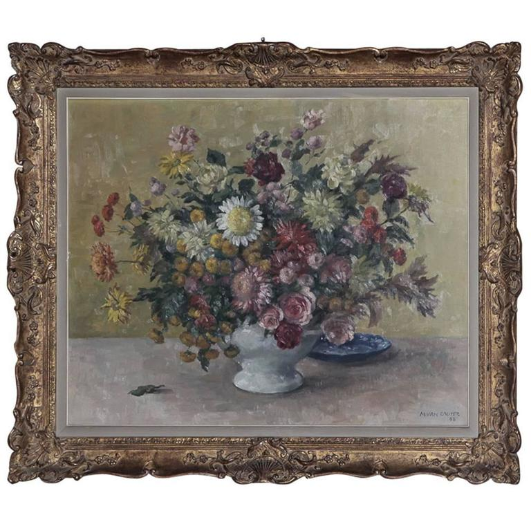Impressionist Floral Still Life Painting Oil on Canvas by Marcel Van Cauter