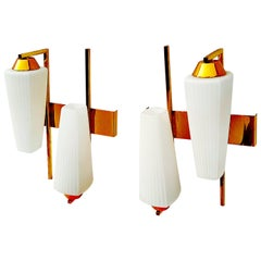 Rare Pair of 1950s Asymmetrical Sconces by Maison Arlus