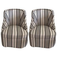 Stylish Comfy Upholstered Striped Club Chairs