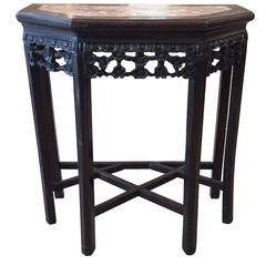 Small Rosewood and Marble Asian Demilune Side Table