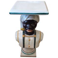 Dramatic Glazed Terracotta Blackamoor Drinks Table or Pedestal