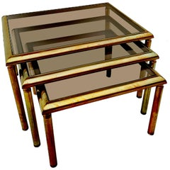 French Brass Nesting Tables, 1960s