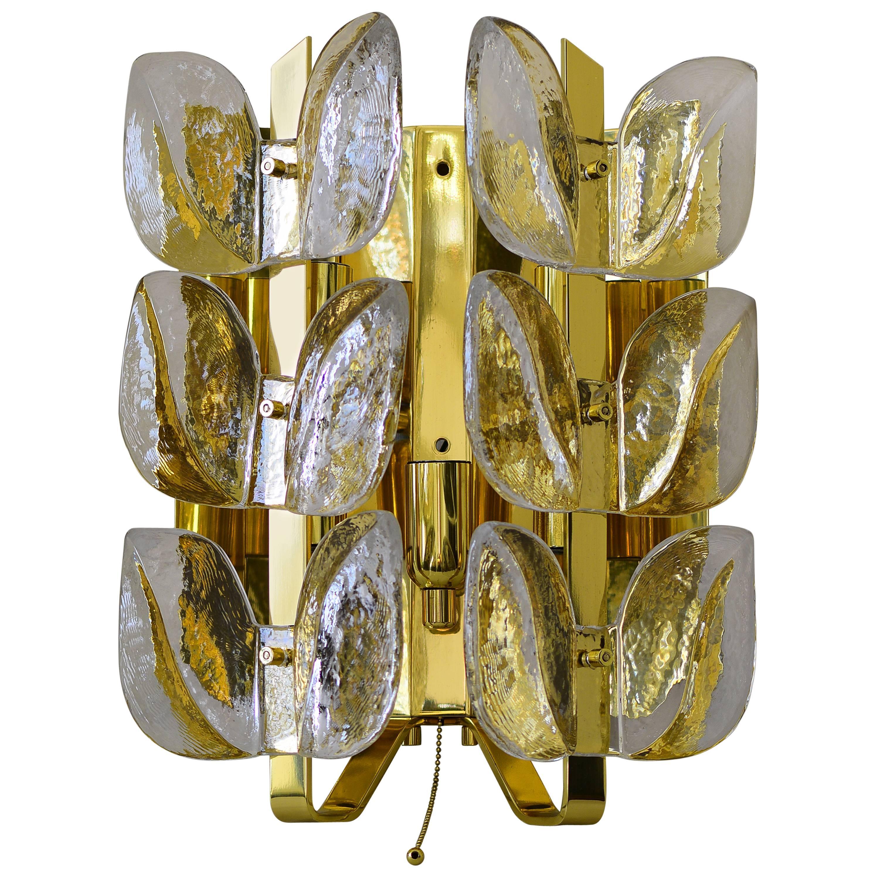 Leaf Glass and Brass Sconces by J.T. Kalmar