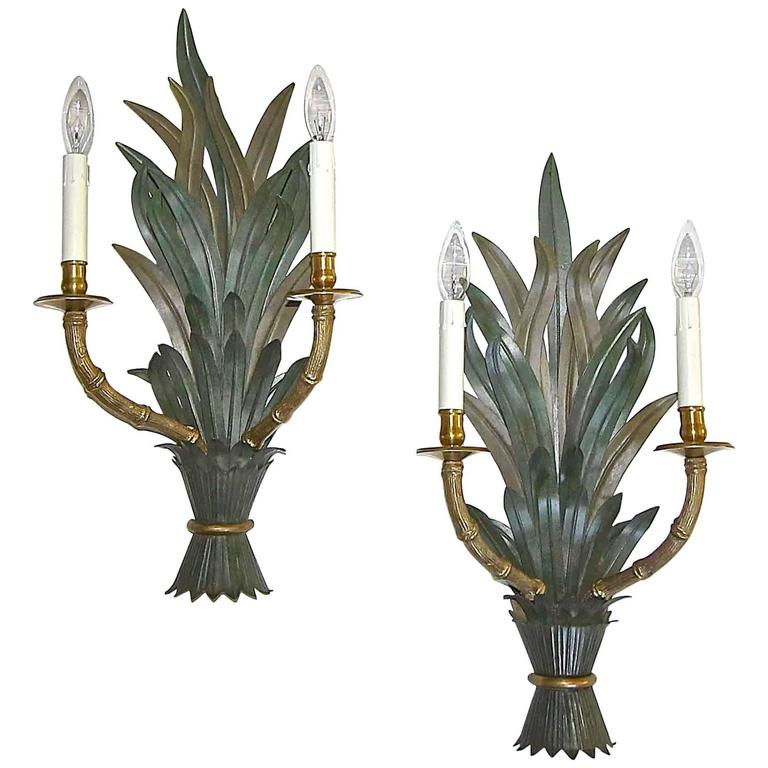 Faux Crystal Wall Sconces : Bagues Style Faux Bamboo Tole Wall Sconces at 1stdibs