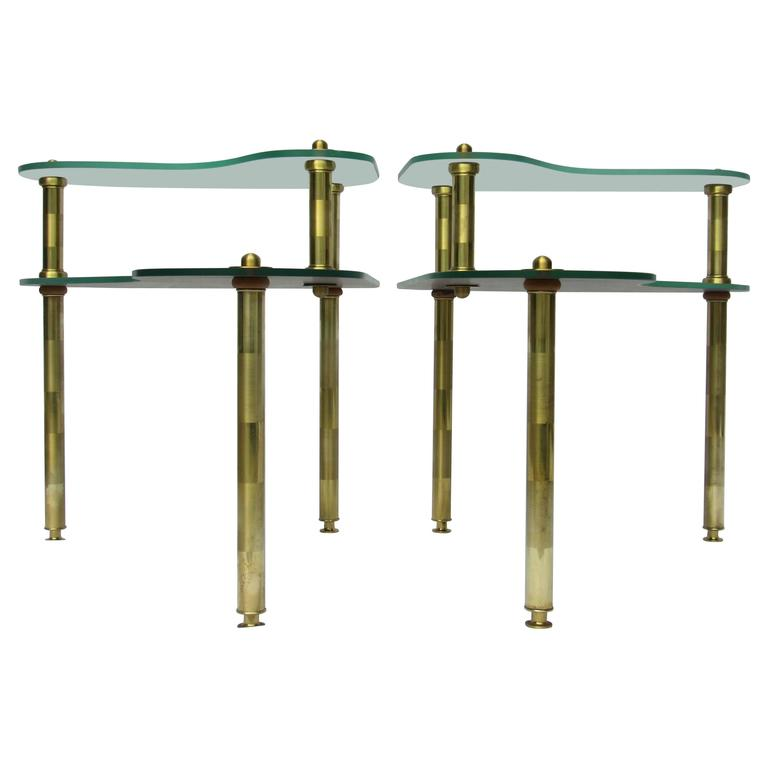 Pair of Chased Brass and Mirrored Glass End Tables from Semon Bache, 1959 For Sale