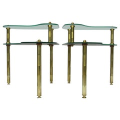 Semon Bache Pair of Chased Brass and Mirrored Glass End Tables from 1959