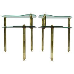 Pair of Chased Brass and Mirrored Glass End Tables from Semon Bache, 1959