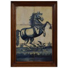 Portuguese Framed Painted Tiles of a Rearing Horse, 18th Century, Later Frame