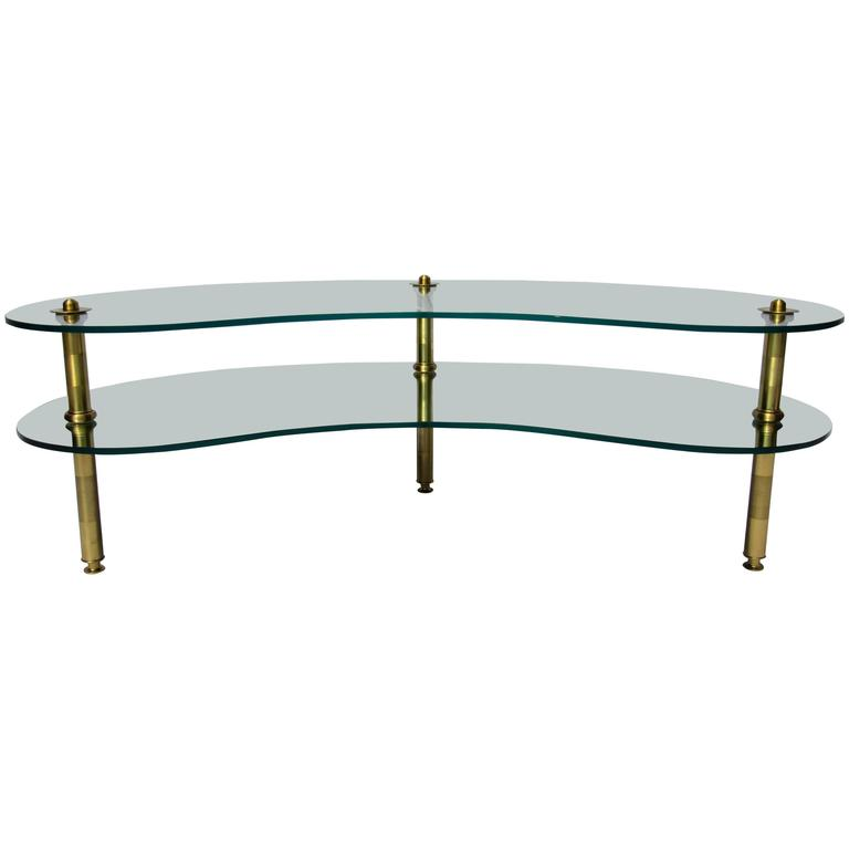 Mid-Century Coffee Table Mirror and Glass Semon Bache, 1960