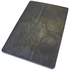 Paul Kingma Green Slate and Stone Art Coffee Table