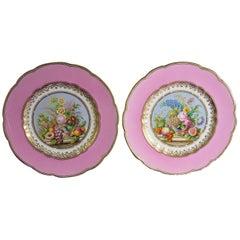English Porcelain Pink-Ground Pair of Botanical Plates Probably Minton.