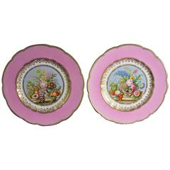 English Porcelain Pink-Ground Pair of Botanical Plates Probably Minton.