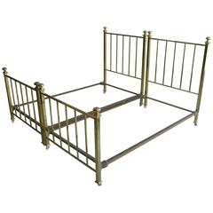Pair of Early 20th Century Brass double Bed