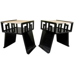 Couple of Side Tables of Black Lacquer and Parchment Top