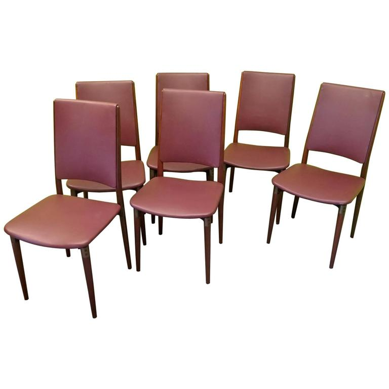 Six Osvaldo Borsani for Tecno Wood and Leather Chairs  For Sale